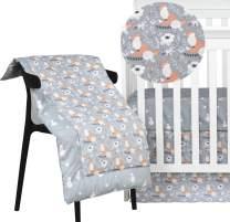 Brandream Crib Comforter Sets for Boys and Girls Floral Fox Comforter Blanket for Newborn/Infant/Toddler Cotton Crib Quilt Gray, Christmas Snowman Bedding Comforter Nursery Shower Gift