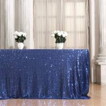 Eternal Beauty Rectangular Sequin Tablecloth Sparkly Sequin Overlay Sparkle Sequin Linens for Wedding Party Decoration (60 x 102-Inch, Navy Blue)