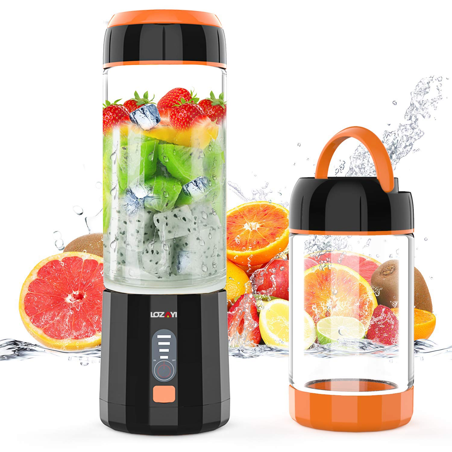 Smoothie Blender, LOZAYI Portable Blender Travel USB Rechargeable Juicer Cup for Shakes and Smoothies, Cordless Small Personal Blender Fruit Mixer Mini Blender with Led Displayer for Outdoor Travel Home Office (Orange)