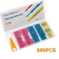 200PCS Heat Shrink Butt Connectors Terminals, Waterproof Insulated Electrical Wire Butt Terminals Kit Marine Automotive Wire Connectors Crimp Terminals (with 30 Zip Ties)
