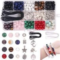 Dushi 8mm Stone Bead Kit 418pcs DIY Beads Set Loose Beads Gemstone Natural Lava Stone Beads with Tool Box & 2 Strings Assorment Finding for Bracelet Jewelry Making Kits (Stone Bead kit)