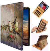 """ipad Hand Strap Case Cover for iPad 9.7"""" 5th 6th Generation 2018 2017 Air 1st 2nd Md788ll/A MRJN2LL/A MR7F2LL/A MRJP2LL/A A1474 A1893 A1954 A1822 A1823 with Sleep/Wake (Butterfly Flower)"""