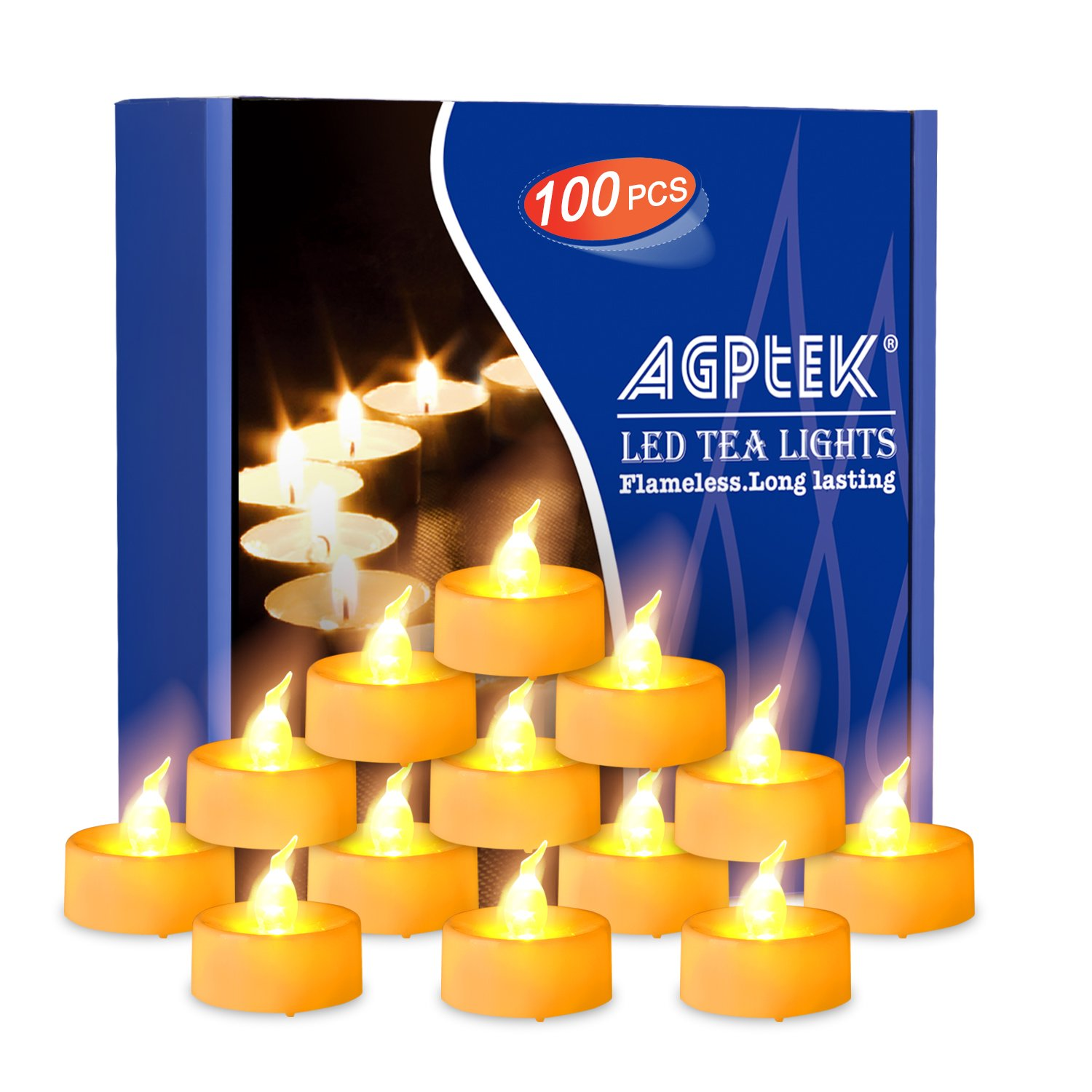 AGPtEK Tea Lights,100 Pack Flameless LED Candles Battery Operated Tealight Candles No Flicker Long Lasting Tealight for Wedding Holiday Party Home Decoration(Amber Yellow)