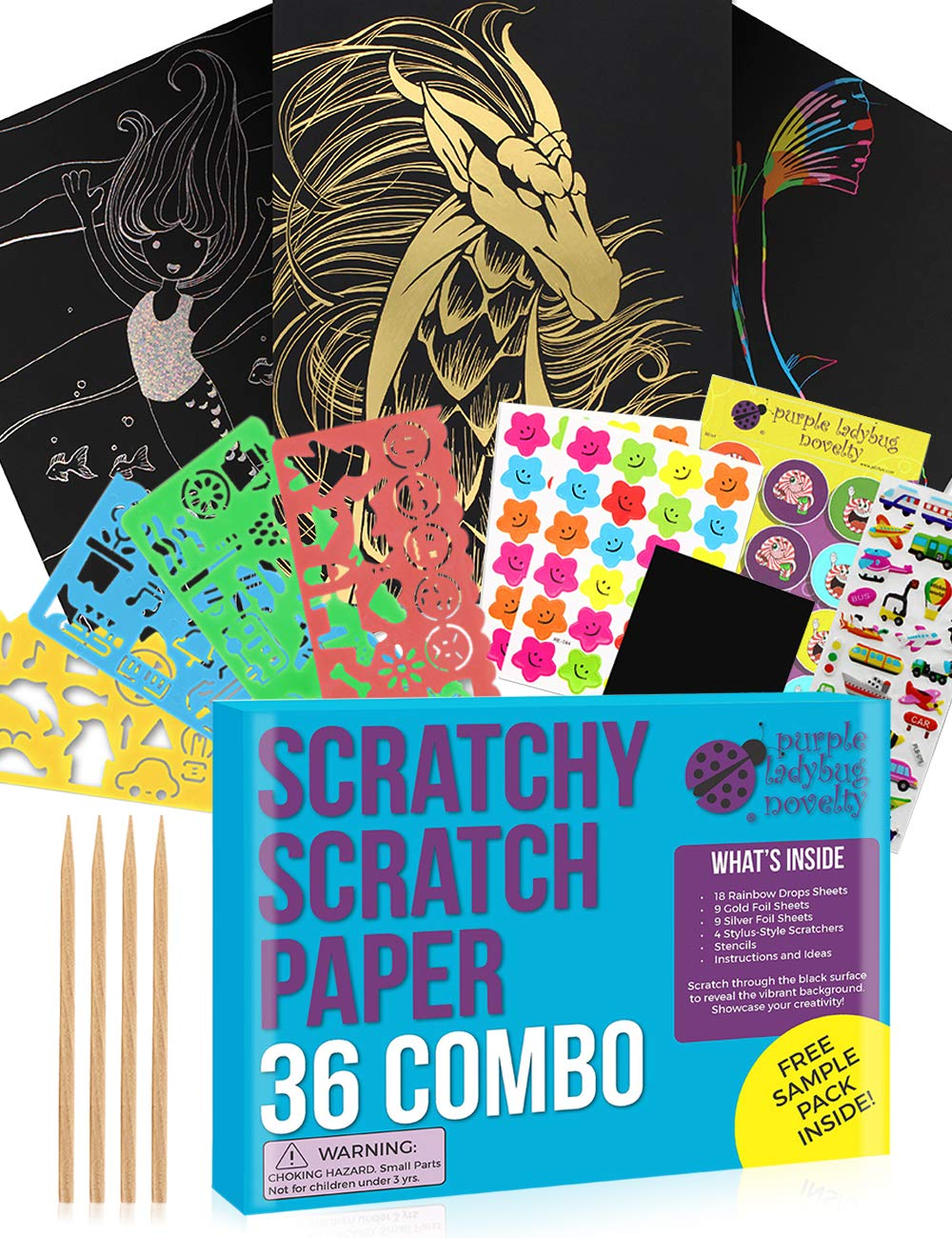 Purple Ladybug Scratch Paper Art Set for Kids! Variety Pack with 36 Full Sized Sheets, 3 Unique Colors: Rainbow, Gold, Silver + Stencils! Great Gift for Teens, as Kids Art Supplies, & Fun DIY Crafts!