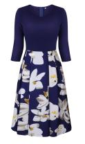 Coswe Women's 3/4 Sleeve Vintage Patchwork Casual Party Dress with Pockets