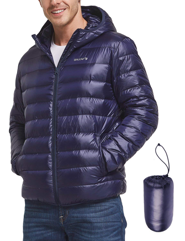 BALEAF Men's Lightweight Packable Hooded Down Jacket Outdoor Windproof Coat
