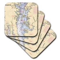 3dRose CST_204865_1 Print of Nautical Chart Chesapeake Bay Soft Coasters, (Set of 4)