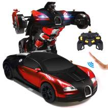 Ursulan RC Cars Robot for Kids Remote Control Car Transformrobot Gesture Sensing Toys with One-Button Deformation and 360°Rotating Drifting 1:14 Scale Best Gift for Boys and Girls- Red