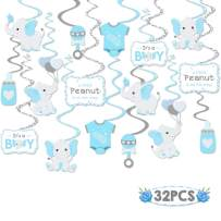 Faisichocalato 32CT Blue Elephant Little Peanut Hanging Swirls Decorations Boy Baby Shower It's A Boy Theme Party Ceiling Door Whirls Streamers for Blue Elephant Theme Party Birthday Party Supplies