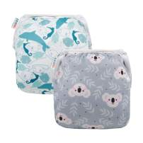 ALVABABY Swim Diapers 2pcs Reuseable Adjustable for Baby Gifts Swimming Lessons 0-3 Years ZYK59-YX35