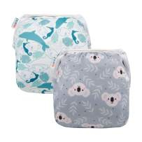ALVABABY Baby Swim Diapers 2pcs Reuseable Washable & Adjustable for Swimming Lesson Baby Shower Gifts 0-2 Years YK59-YX35