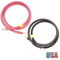 Exell Battery 2/0 AWG Interconnecting Copper Cables, 10-Foot Length with 3/8-Inch Lugs (Black and Red)