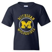 NCAA Distressed Circle Logo, Team Color Youth T Shirt, College, University