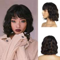 DeeThens Natural Wave Wig Short Bob Wigs wtih Bangs Synthetic Curly Wave Wig for Women,Highlight Color Wigs for Daily Used(color:Black Mixed Brown)