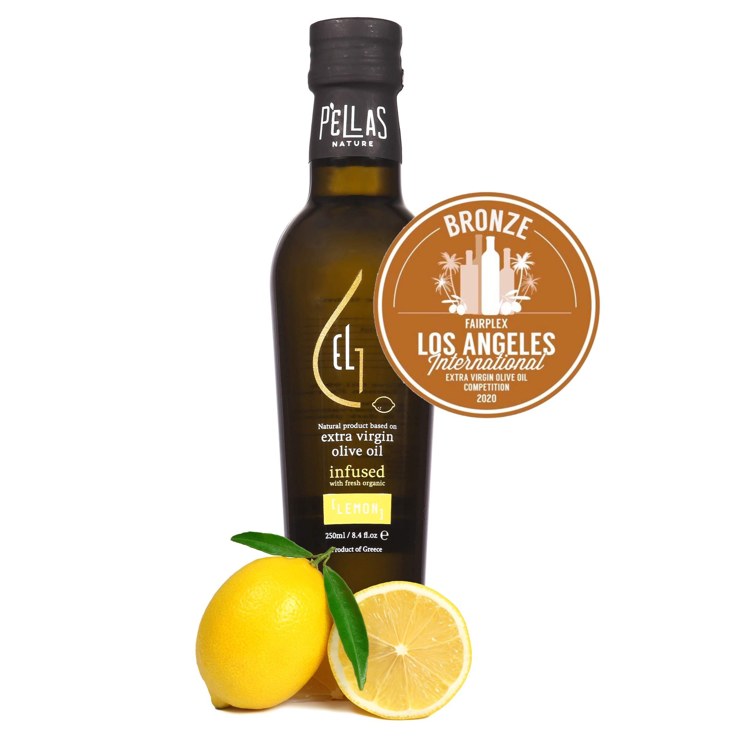 Pellas Nature, fresh organic lemon infused Greek extra virgin olive oil, 2020 award winning, single origin, all natural, no additives, 250 ml dark bottle