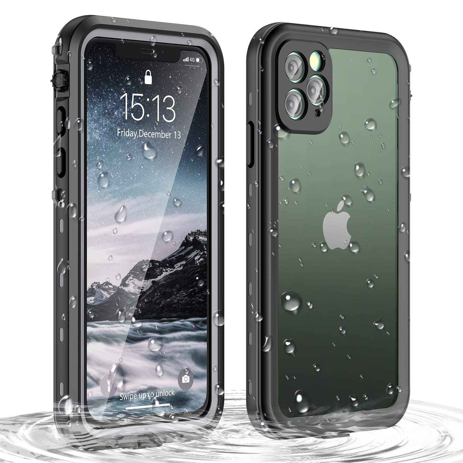 Janazan iPhone 11 Pro Max Waterproof Case, 360 Full Body Clear Protective Case with Built-in Screen Protector, Waterproof Shockproof Snowproof Dirtproof for iPhone 11 Pro Max 6.5 inch 2019 (Black)