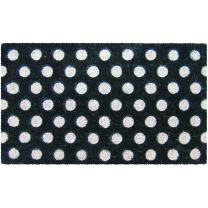 "Entryways White Polka Dots Handmade, Hand-Stenciled, All-Natural Coconut Fiber Coir Doormat 18"" X 30"" x .75"""