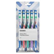 Amazon Brand - Solimo Clean Plus Toothbrushes, 10 Count