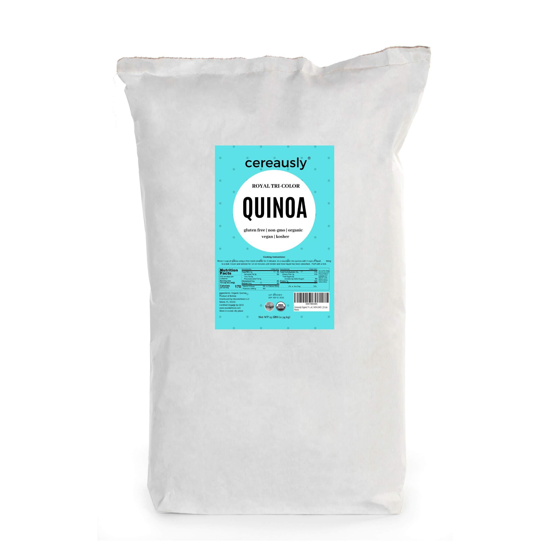 CEREAUSLY Organic Tri-Color Quinoa in Bulk   25 Lb   Restaurants   Wholesale   Bolivian   Royal   NON-GMO   Kosher   Gluten-Free   Vegan