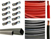 "1/0 Gauge 1/0 AWG 5 Feet Red + 5 Feet Black Welding Battery Pure Copper Flexible Cable + 10pcs of 3/8"" Tinned Copper Cable Lug Terminal Connectors + 3 Feet Black Heat Shrink Tubing"