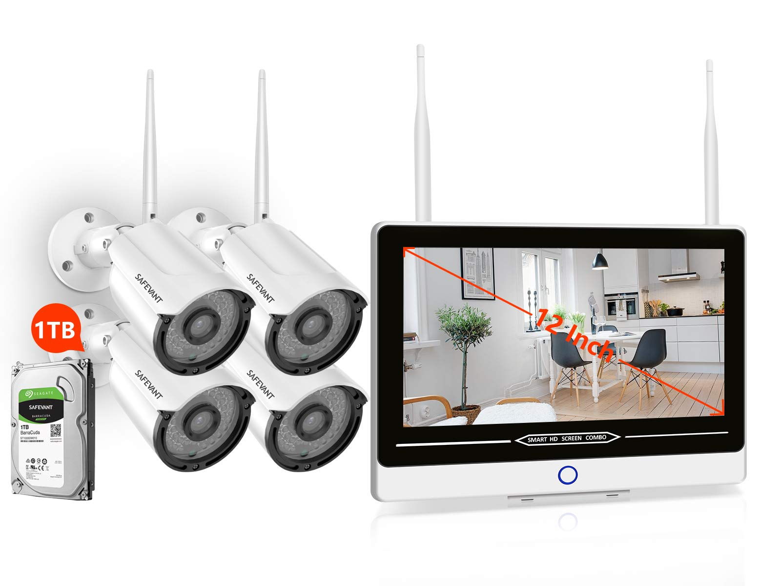 1080P Full HD Wireless Security Camera System with Monitor 1TB Hard Drive,SAFEVANT All in One 8 Channel Home Surveillance Systems 4PCS 2MP Outdoor Indoor IP Cameras with Night Vision Motion Detection