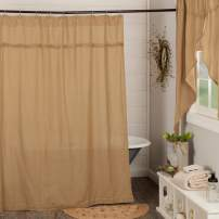 VHC Brands 6172 Burlap Natural Shower Curtain Unlined 72x72, 72 x 72, Tan