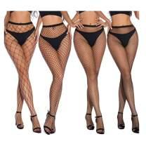 Fishnet Stockings 4 Pairs Women Ballroom High Waist suspender Tights Black Pantyhose