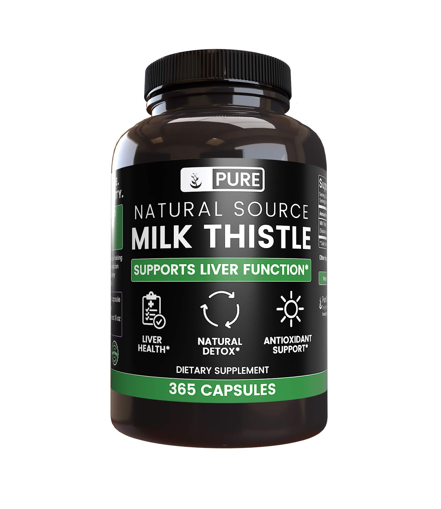 Natural Source Milk Thistle, 365 Capsules, 1-Year Supply, No Magnesium or Rice Filler, 4X Potency, Free of Gluten, Made in US, 320 mg of Undiluted Milk Thistle Extract with No Additives