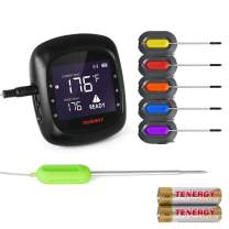 Tenergy Solis Digital Meat Thermometer, APP Controlled Wireless Bluetooth Smart BBQ Thermometer w/ 6 Stainless Steel Probes, Large LCD Display, Carrying Case, Cooking Thermometer for Grill & Smoker