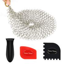 Cast Iron Skillet Cleaner, Cast Iron Chainmail Scrubber Stainless Steel Cookware Scrubber with Hot Handle Holder 2 Pan Scrapers for Skillet Grill Pan Pot Wok Griddle 7 inches Round