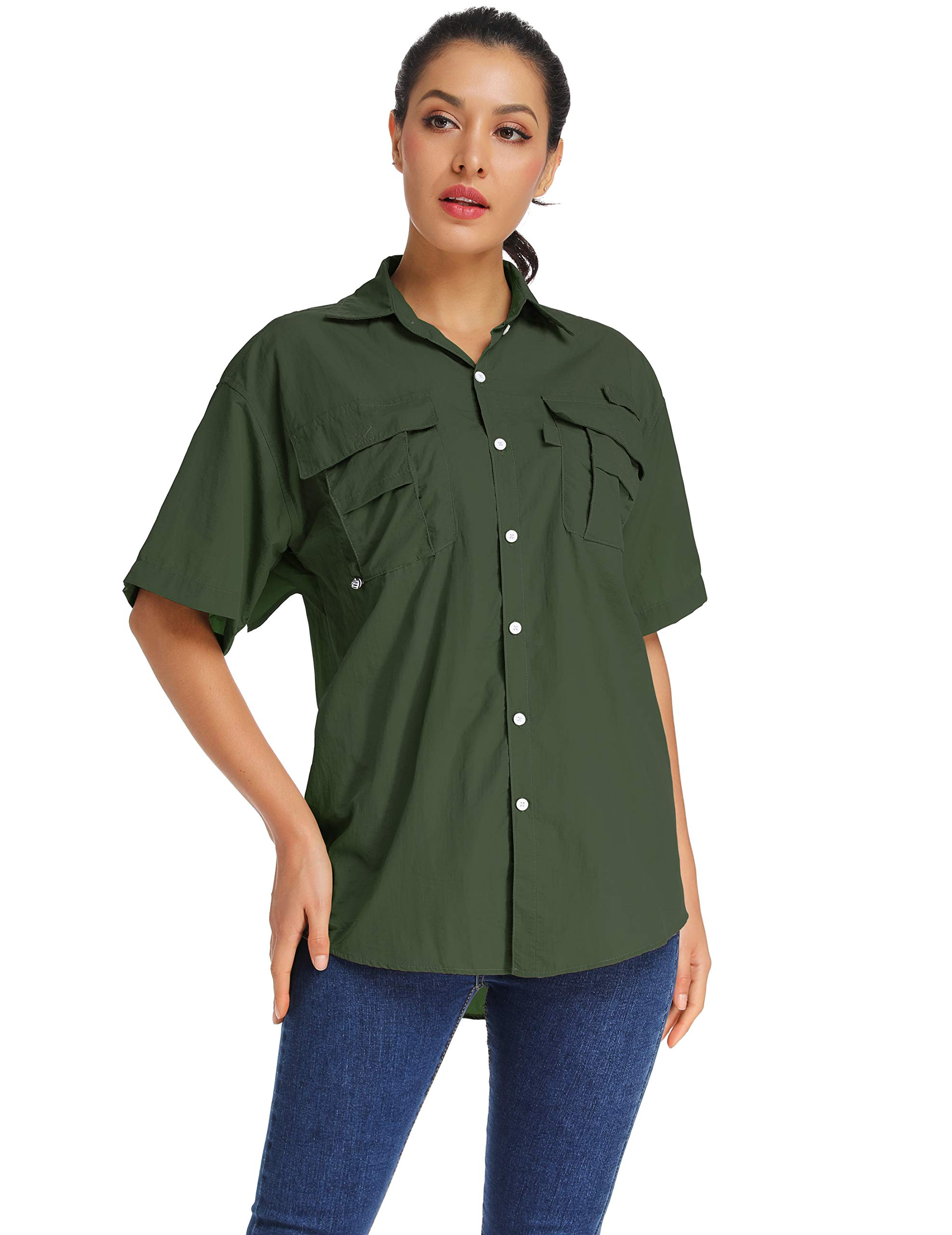 Women's Quick Dry Sun Protection Short Sleeve Wicking Shirts for Hiking Camping Fishing Sailing (17 Army Green, X-Large)