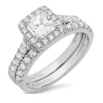 1.54ct Princess Cut Halo Pave Solitaire with Accent VVS1 Ideal D Moissanite & Simulated Diamond Engagement Promise Designer Anniversary Wedding Bridal ring band set 14k White Gold