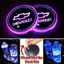 Heart Horse LED Cup Holder Lights, Car Logo Coaster with 7 Colors Changing USB Charging Mat, Luminescent Cup Pad Interior Atmosphere Lamp Decoration Light (2 PCS, Waterproof) (1Fit Chevrolet)