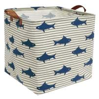 ESSME Square Storage Bin,Cotton Fabric Laundry Baskets,Collapsible Waterproof Toy Storage Bin with Handles for Family Storage,Shelf Baskets (Square Shark)
