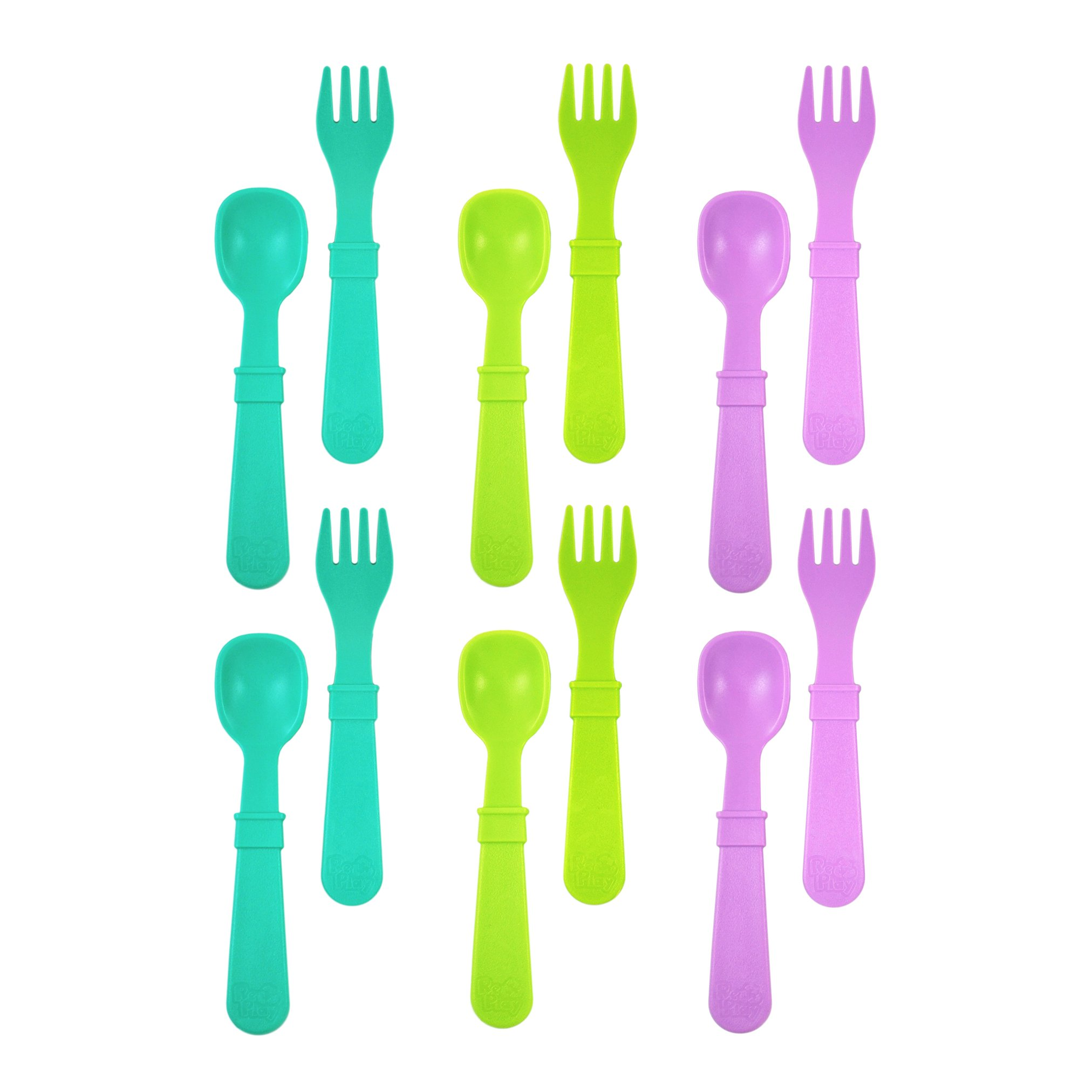 RE-PLAY Made in The USA 12pk Fork and Spoon Utensil Set for Easy Baby, Toddler, and Child Feeding in Aqua, Lime Green and Purple | Made from Eco Friendly Heavyweight Recycled Milk Jugs | (Mermaid)