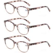 MODFANS Round Stylish Reading Glasses Pair with Spring Hinge Fashion Glasses for Reading for Men and Women