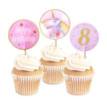 Unicorn Glitter Cupcake Toppers - 8th Birthday | Unicorn Party Supplies + Unicorn Birthday Cupcake Decorations - Set of 24