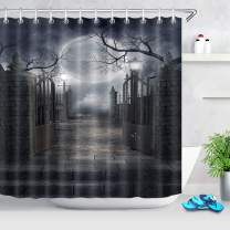 LB Halloween Shower Curtain Moon Gate Grey Tree Branch Haunted Bathroom Curtain with Hooks 72x72 inch Polyester Fabric Waterproof