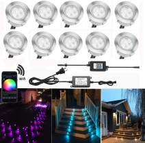 """QACA Smart LED Deck Lights Kit WiFi Controlled Color Changeable, Φ1.38"""" Outdoor IP67 Waterproof Low Voltage Step Lights In-Ground Lighting Kit, Works with Samrt Phone, Alexa and Google Home,10 Pack"""