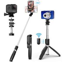 SYOSIN Selfie Stick Tripod, All in One 40 Inch Extendable Phone Tripod with Detachable Wireless Bluetooth Remote Adjustable Gopro DSLR Camera Tripod Compatible with iPhone 11/XS Max/XS/X Android Phone