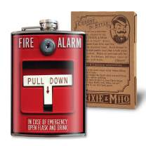 Fire Alarm Flask - 8 oz Flasks For Liquor For Men - Groomsmen Gifts - Firefighter Gifts For Men - Stainless Steel Flask For Liquor - Alcohol Flask For Men - Funny Flask For Women - Trixie And Milo