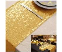 Gold Sequin Table Runner (14inx108in, Gold)