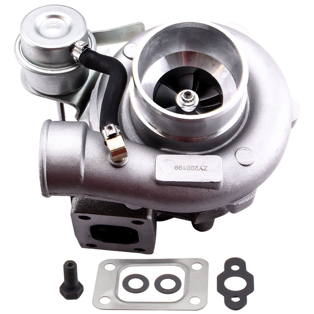 maXpeedingrods GT25 GT28 GT2871 GT2860 Universal Turbo Charger 400BHP+ Boost 0.64 A/R, T25 T28 5-Bolt Flange Turbocharger for 1.8L-3.0L Engine Water + Oil Cooled Turbo W/Gaskets