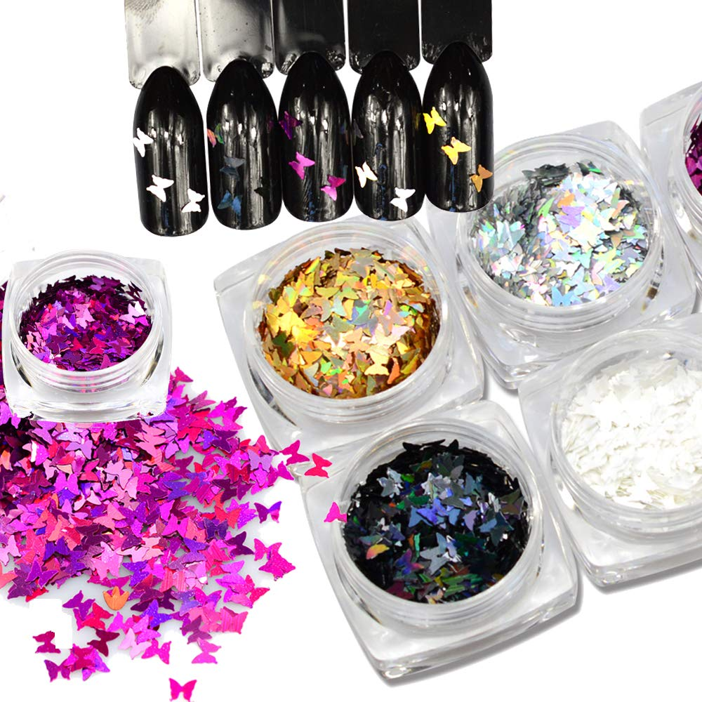 1pc New Nails Glitters Butterfly Shape Mix Colors Beauty Gel Nail Art Charms Mini Paillette Small Size Sequin Decor (Gold)
