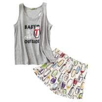ENJOYNIGHT Women's Short Sexy Pajama Set Sweetness Racerback Tank and Shorts Sleepwear PJs Set Plus