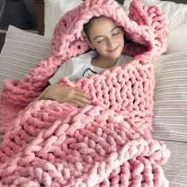 DCZTELG Handmade Chunky Knit Blanket Throw Bulky Knitting Blanket Chenille Blankets Soft Cozy Polyester (G-Pink, 49x69in(130170cm))