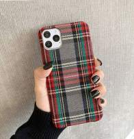 Mixneer Warm Flannel Plaid Cloth Phone Case Simple Plush Fabric Phone Case for iPhone X Xs Xsmax Xr 11 Pro Max 6s 7 8 Plus Cover (iPhone 11 pro max,Gray)