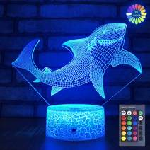 Baby Shark Toys Night Light for Kid 3D Illusion Lamp with Remote & Smart Touch 7 Colors + 16 Colors Changing Dimmable Shark Decor Lamp Xmas Birthday Gifts for Boys Kids Baby