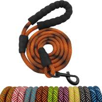 "BTINESFUL Strong Rope Dog Leash 6FT, Heavy Duty Climbing Nylon Rope Leash Dog Training Walking Leash with Comfortable Padded Handle for Small Medium and Large Dogs (6 FT x 1/2"" Dia, Orange Black)"