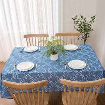 AooHome Rectangle Tablecloth, Polyester Spill-Proof Water Repellent Stain Resistant Table Cover Classic Pattern Décor for Kitchen Dinning Tabletop, Machine Washable, Heavy Duty, 60x84 inch, Blue